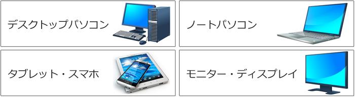 デスクトップパソコン,ノートパソコン,タブレット,スマホ,ディスプレイ